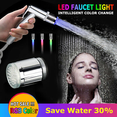 Pop LED Water sensitive Faucet Light Changing Glow Shower Stream Water Tap NM6K