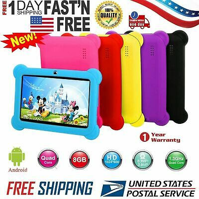 "2018 New 7"" Quad Core Android 4.4Tablet Dual Camera Bundle Case for Kids Gift US"