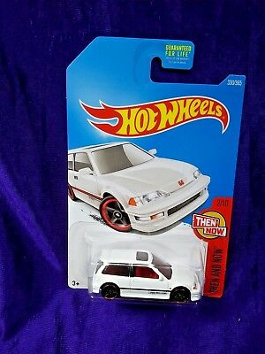 Hot Wheels '90 Honda Civic EF Then And Now #2/10 White Diecast 1:64 Scale Mattel