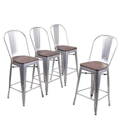 """Set of 4 Metal Bar Stools 26"""" Bar Chairs Counter Height High Back Wooden Silver"""