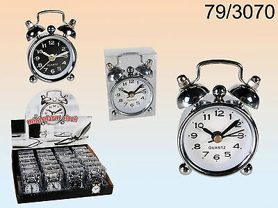 1 X Mini Metal Alarm Clock - Retro - 6 X 4 Cms - Black Or White Face