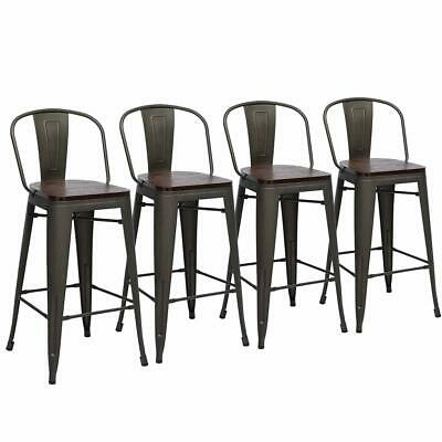 """(Set of 4) 24"""" Metal Bar Stools High Back Bar Chairs Counter Height Wooden Rusty"""