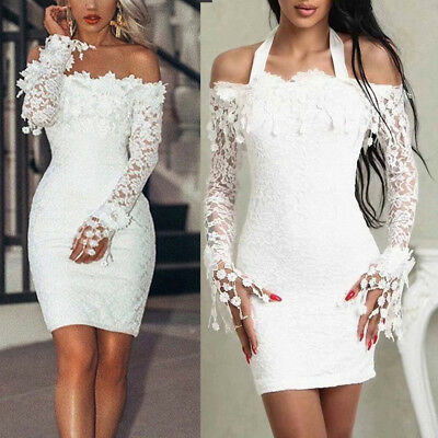 UK Women Sexy Bandage Bodycon Long Sleeve Evening Party Cocktail Club Mini Dress