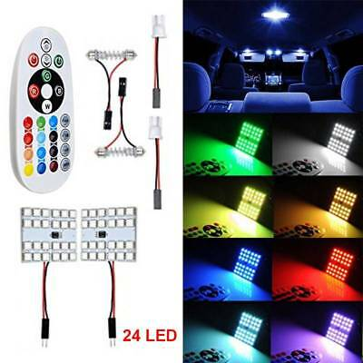 2x Auto Roof Dome Reading Light Lamp Bulb Remote Control T10 5050 RGB 12LED SMD