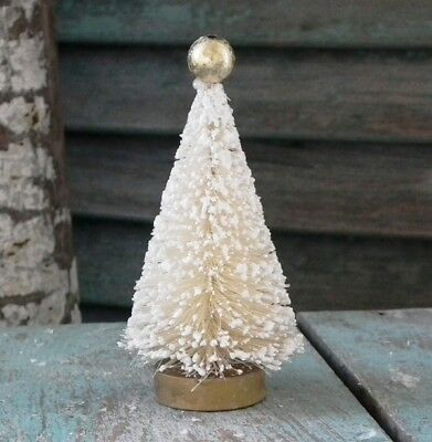 "CODY FOSTER 4"" Retro-Style ~CREAM~ Decorated BOTTLE BRUSH TREE ~ Retired & NWT!"