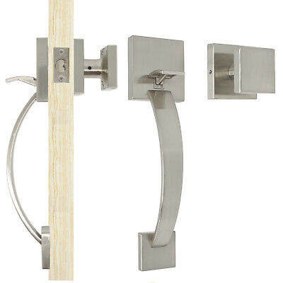 Probrico Exterior Front Entry Door Handle set Brushed Nickel Square Keyless