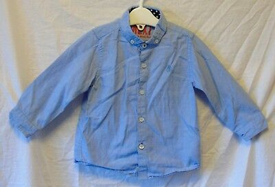 Baby Boys Next Blue Embroidered Boat Long Sleeve Casual Shirt Age 12-18 Months