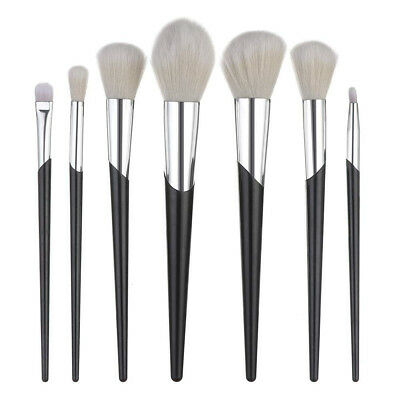 (Black) - TAOtTAO 7 PCS Wooden Foundation Cosmetic Eyebrow Eyeshadow Brush