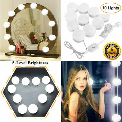 4.5M 10x Hollywood LED Bulbs Vanity Makeup Dressing Dimmable Mirror Lights Kit
