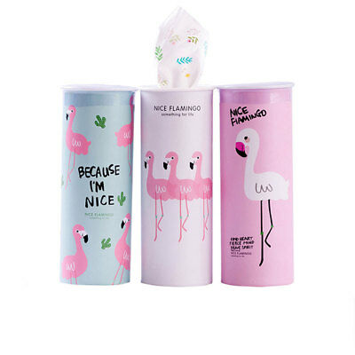 BU_ 1Pc 40 Times 3 Layers Facial Tissues Flamingo Cylinder Box for Car Home Raki