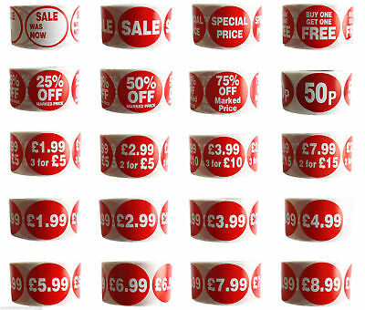 500x RED PRICE SELF ADHESIVE STICKERS STICKY LABELS SWING TAG LABELS FOR RETAIL