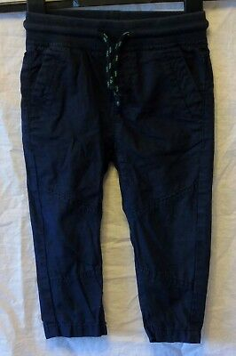 Baby Boys M&S Dark Blue Cotton Chino Ribbed Waist Trousers Age 12-18 Months