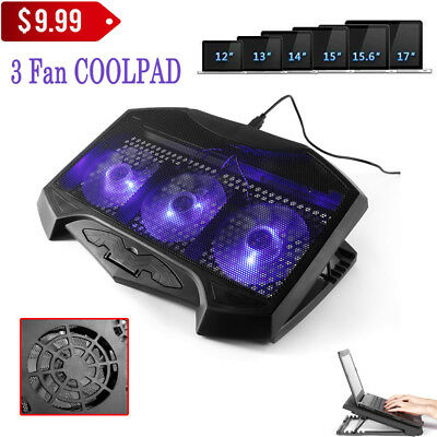 """LESHP Laptop Cooling Pad Cooler Stand 3 Modes 3 Big Fans 2 USB 15.6"""" Notebook BE"""