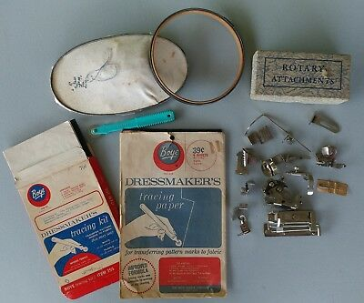 Lot of Misc.Vintage Sewing Items-Hoops/ Boye Tracing Paper/ Rotary Attach./ Etc