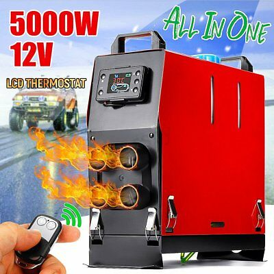 All In One 12V 5KW 5000W LCD Air Diesel Heater Chauffage Voiture Télécommande TP