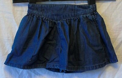 Baby Girls Next Dark Blue Soft Denim Skorts Shorts Age 9-12 Months