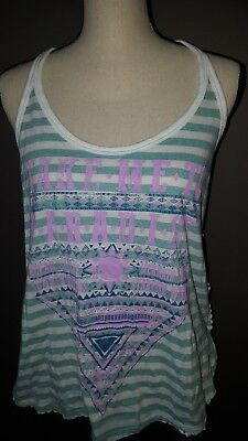 feabcf18c3d82 No Boundaries Tank Top Striped Graphic Shirt Sleeveless Crochet Back size M