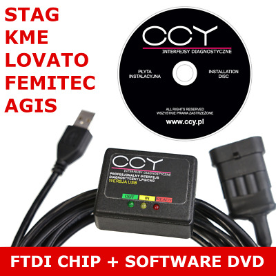 AC STAG /FEMITEC/ LOVATO/ AGIS LPG GPL Diagnose Kabel USB INTERFACE + Software
