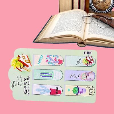 6pcs /Set Magnetic Bookmarks Page Stationery Fresh Cactus Books Marker