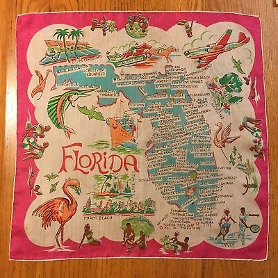 Vtg Silky Souvenir FLORIDA State Map & Tourist Attractions (Pink Flamingo Pin-up