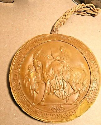 "Queen Victoria Wax Great Seal of Realm 1800s Large 6"" wide lacquered case"