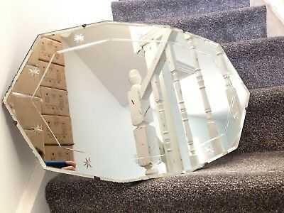 Huge Gorgeous Genuine 1930's Star Etched Art Deco 10 Sided Bevelled Edge Mirror