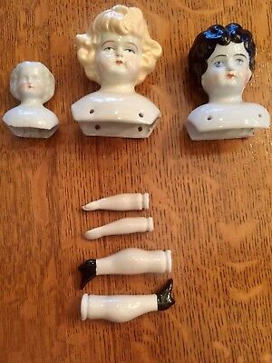 Porcelain China 3 DOLL HEAD & a set of Legs and Arms