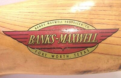 "Vintage 24"" Wooden Banks Maxwell Propeller Airplane Air Boat Sled Fort Worth Tx"