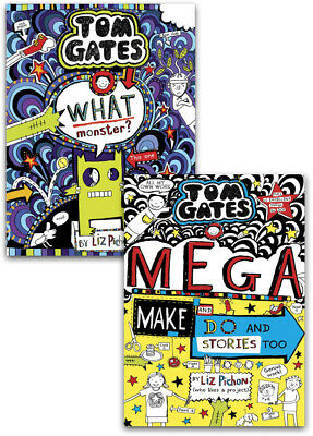 Tom Gates 2 Books Collection Set By Liz Pichon (What Monster?, Biscuits, Bands a