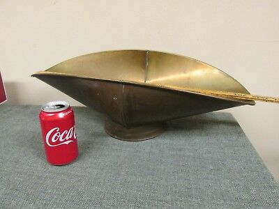 """Antique Vintage Brass Scale Scoop Pan Rolled Edges Hand Forged 22"""" 1/2"""" Long"""