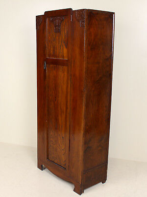 Vintage Carved Oak Wardrobe Gents Hall Cabinet Rustic Arts Crafts