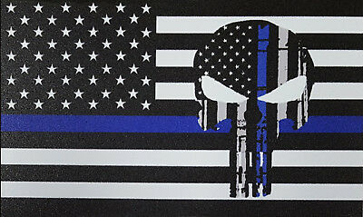 """Blue Lives Matter indoor/outdoor Magnet with punisher skull approx. 4.5"""" wide"""