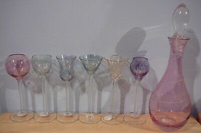 Pink Crystal Decanter & 5 Long Stem Multi Color Pattern Crystal Shot Glasses Set