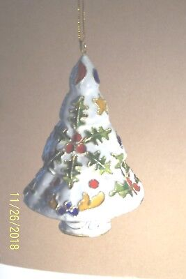 "Cloisonne' Tree Ornament:White, 3 5/8"" H X 2 3/8"": W, Handmade,SALE PRICED Gift"