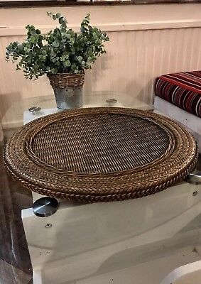 RARE Ex Large Rattan Table Dinner Centre Piece Plate Charger Tray.55cm.22 Inch.