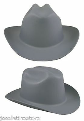 """Outlaw Cowboy Style Safety Hard Hat """"GRAY"""" Ratchet Susp ANSI/OSHA Approved!"""