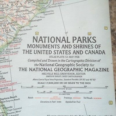VINTAGE NATIONAL PARKS MONUMENTS & SHRINES OF U.S. MAP National Geographic 1958