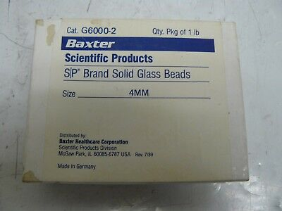 Baxter Scientific Products G6000-2 S/P brand solid glass beads 4mm 1 lb pack new