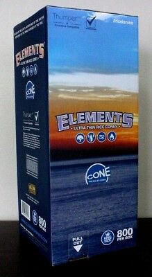 Elements Rice Cones King Size Authentic Pre-Rolled Cones w/ Filter~800 Cones~NEW