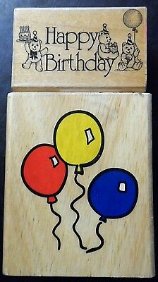 Happy Birthday Rubber Stamps Lot 2 Two Celebration Sentiment Greeting Balloons