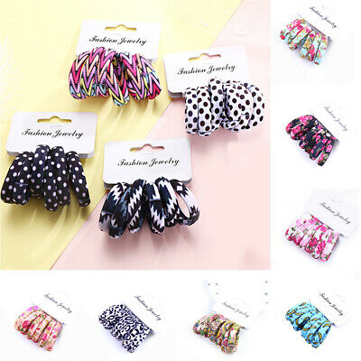 6Pcs Girls Rubber Bands Cotton Print Hair Ties Ponytail Rope Elastic Hair Band