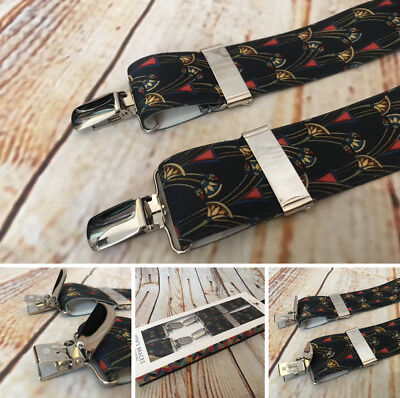 St.George Braces, 35mm, One Size, Fully Adjustable, Navy Art Deco, UK made, BNWT
