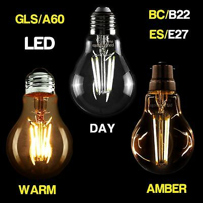 2/6/12 x Edison Bulbs LED Filament B22 E27 Screw Decorative GLS Light A60 Lamp