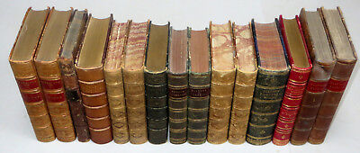 15 LEATHER BOUND BOOKS Antiquarian Binding SHAKESPEARE, MILTON, COWPER, WALPOLE