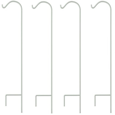 Gray Bunny Shepherd Hook, 65 inch White 1/2 Inch Thick, Set of 4, Solid Heavy
