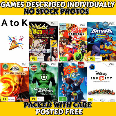 Nintendo Wii 💚💛 G & PG Games - POPULAR CHARACTERS - Titles A to K 💛💚 09/12