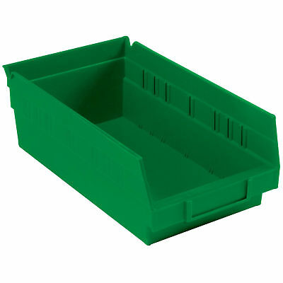 "Nestable Shelf Bin, Plastic, 6-5/8""W x 11-5/8"" D x 4""H, Green, Lot of 12"