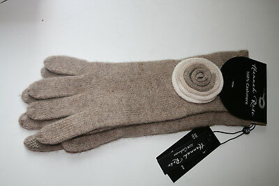 """NWT Hannah Rose 100% Cashmere Smart Phone Texting 12"""" Gloves Beige w/ decor"""