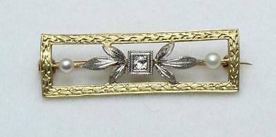 Vintage Art Nouveau 14k Antique Yellow & White Gold Diamond Pearl Brooch Pin