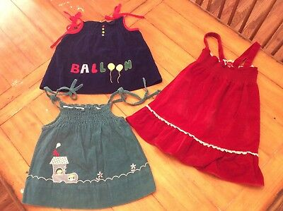 3 piece Lot Vintage Girl Corduroy velvet like pinafore tunic tops 6-7X